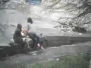Trio sex in het openbaar park met vrouwelijke vriend